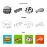 Food, refreshments, snacks and other web icon in flat,outline,monochrome style.Packaging, paper, potatoes icons in set. Food, refreshments, snacks and other Stock Photos