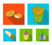Food, refreshments, snacks and other web icon in flat style.Packaging, paper, potatoes icons in set collection. Food, refreshments, snacks and other  icon in Royalty Free Stock Images