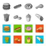 Food, refreshments, snacks and other web icon in monochrome,flat style.Packaging, paper, potatoes icons in set. Food, refreshments, snacks and other  icon in Royalty Free Stock Photography