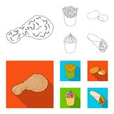 Food, refreshments, snacks and other web icon in outline,flat style.Packaging, paper, potatoes icons in set collection. Food, refreshments, snacks and other Stock Photography