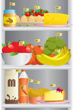 Food in refrigerator. A vector illustration of different food in a refrigerator with the calorie counts royalty free illustration
