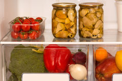 Food in the refrigerator Stock Photos