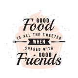 Food related typographic quote with cupcake Stock Image
