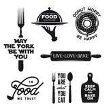 Food related typography set. Quotes about cooking. Vintage vector illustration. Royalty Free Stock Photo
