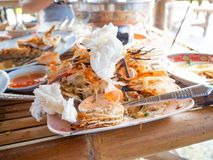 Food remains,Ce phung Sea food, restaurant,rayoung,Thailand. Food remains Ce phung Sea food royalty free stock photos
