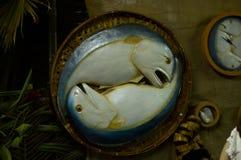 Food replica Mackerel fish. In bamboo basket Royalty Free Stock Photos