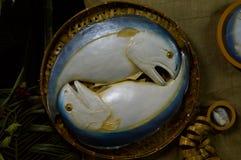 Food replica Mackerel fish. In bamboo basket Royalty Free Stock Photography