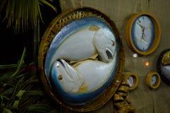 Food replica Mackerel fish. In bamboo basket Stock Image