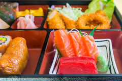 Food replicas of sashimi in Bento set Stock Photography