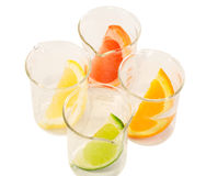 Food research - citrus mix. Colorful citrus slices in chemical research recipients - top view - isolated Stock Photo