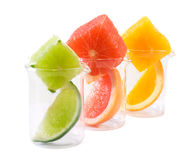 Food research - citrus mix. Mixed citrus chunks and slices in chemical research recipients - isolated - shallow DOF Stock Image