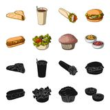 Food, rest, refreshments, and other web icon in black,cartoon style.Cake, biscuit, cream, icons in set collection. Food, rest, refreshments, and other  icon in Royalty Free Stock Photos