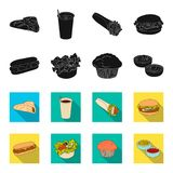 Food, rest, refreshments, and other web icon in black,flet style.Cake, biscuit, cream, icons in set collection. Food, rest, refreshments, and other  icon in Stock Photography