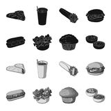 Food, rest, refreshments, and other web icon in black,monochrome style.Cake, biscuit, cream, icons in set collection. Food, rest, refreshments, and other  icon Royalty Free Stock Photography
