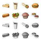 Food, rest, refreshments, and other web icon in cartoon,monochrome style.Cake, biscuit, cream, icons in set collection. Food, rest, refreshments, and other Royalty Free Stock Photography