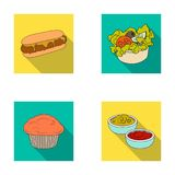Food, rest, refreshments, and other web icon in flat style.Cake, biscuit, cream, icons in set collection. Royalty Free Stock Photos