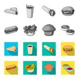 Food, rest, refreshments, and other web icon in monochrome,flat style.Cake, biscuit, cream, icons in set collection. Food, rest, refreshments, and other  icon Stock Photography