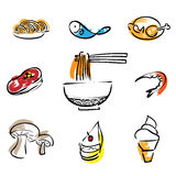 Food restaurant brush line icons Stock Photos