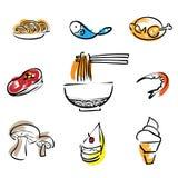 Food restaurant brush line icons. Set Stock Photos