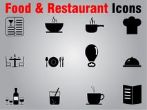 12 food and restaurant flat icons. This is a set of 12 flat black icons suitable for any food and restaurant business vector illustration