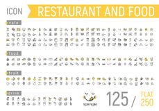 Food and restaurant icon set. Flat and linear stock illustration