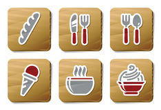 Food and Restaurant icons | Cardboard series Royalty Free Stock Photo