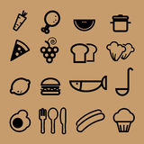 Food restaurant icons vector. Set Royalty Free Stock Images