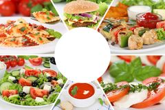 Food restaurant menu collection collage meal eating meals Stock Photo