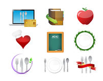 Food restaurant menu concept icon set illustration Stock Photos