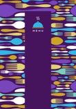 Food, restaurant, menu design in violet stock illustration