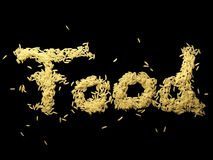 Food - Rice. The word food written with rice letters stock photo