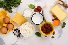 Food rich of calcium. Group of products rich of calcium. Healthy food background. Selective focus. Space for text Royalty Free Stock Images