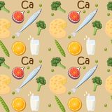 Food rich in Calcium seamless pattern. Cartoon vector illustration in flat style Stock Photo