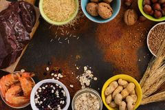 Food rich of copper mineral. Food rich of copper - Cu. Healthy diet for high hemoglobin, against varicose and anemia. Top view Royalty Free Stock Image