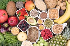 Food rich in fiber, top view Stock Image