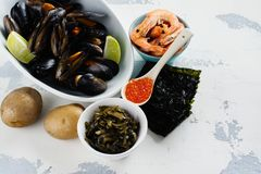 Food rich of iodine. Natural sources of iodine. Space for text stock photography