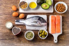 Food rich in omega 3. Fatty acid and healthy fats. Healthy diet food concept. Flat lay stock images