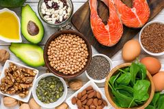Food rich in omega 3 fatty acid and healthy fats. Healthy diet eating concept. Top view Stock Photo
