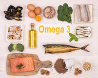 Food rich in omega 3 fatty acid. Various foods rich in omega 3 fatty acid Royalty Free Stock Images