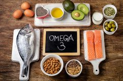 Food rich in omega 3. Fatty acid and healthy fats. Healthy eating concept royalty free stock photos