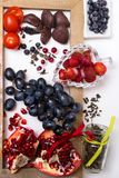 background of food rich with resveratrol, grapes, plums, strawberry, dark chocolate,pomegranate, cranberry, green tea, tomatoes, stock image