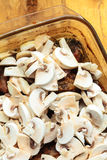 Food. Roasted chicken meat with mushrooms Stock Photo