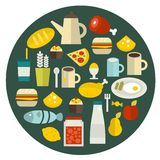 Food round banner. Royalty Free Stock Image