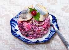 Food -  russian snack - vinaigrette  with herring fish Stock Image