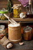 Food in a rustic kitchen Stock Photo