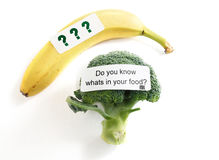 Food safety. Do You Know Whats In Your Food label on broccoli -- food safety or GMO concept Royalty Free Stock Photos