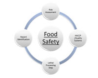 Food safety. 4 risk assessment food safety factor Royalty Free Stock Photos