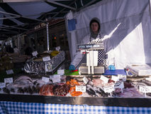 Food on sale at Farmers Market in Lancaster England in the Centre of the City Stock Photos