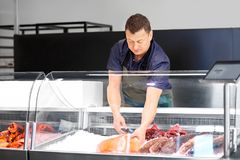 Male seller with seafood at fish shop fridge. Food sale, small business and people concept - male seller with seafood at fish shop fridge Royalty Free Stock Photography