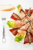 Food salmon anchovy salad Stock Image